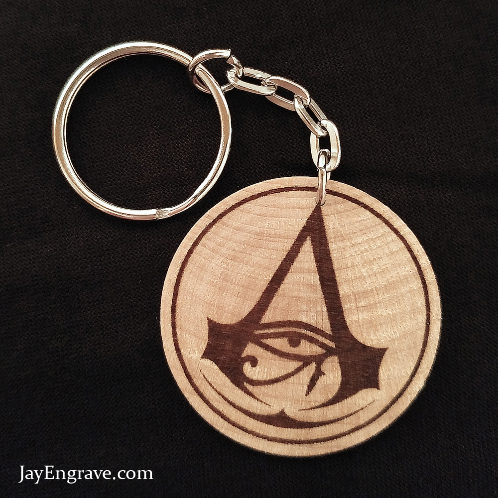 Assassin's Creed Origins Hand Made Engraved Wood Keyring Keychain