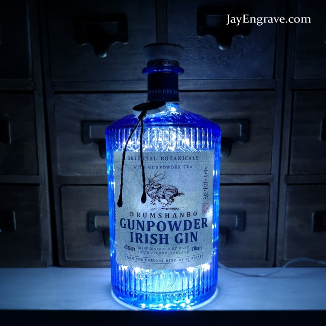 Drumshanbo Gunpowder Irish Gin 700ml Upcycled LED Bottle Lamp Light