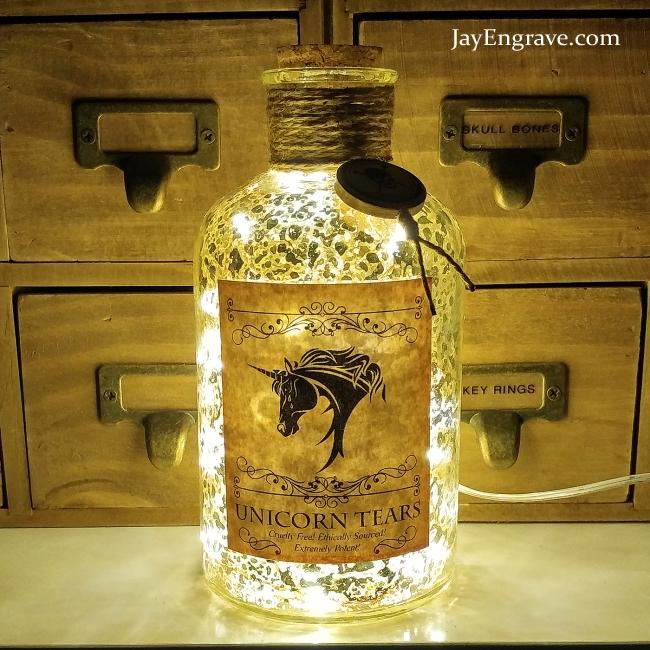 JayEngrave Gold Mercury Effect Unicorn Tears Apothecary LED Bottle Lamp Light