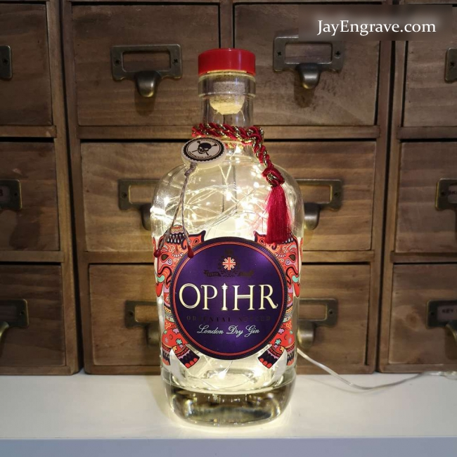 Opihr Oriental Spiced London Dry Gin Upcycled LED Bottle Lamp Light