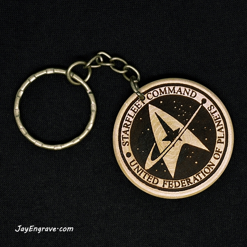 Star Trek Starfleet Command Hand Made Engraved Wood Keyring Keychain