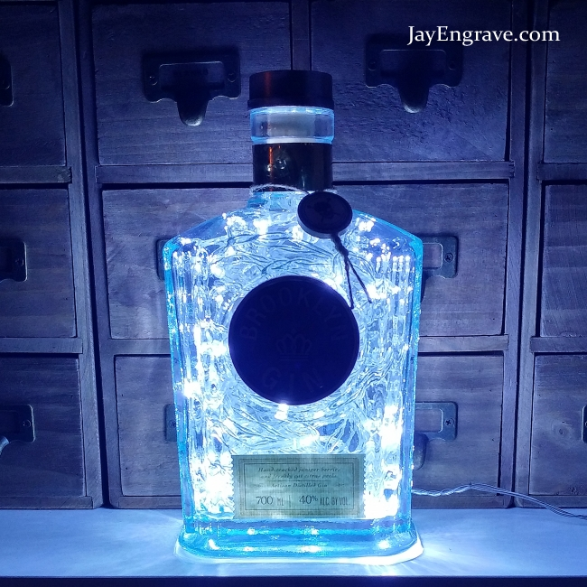 Brooklyn Gin 80 LED Upcycled Bottle Lamp Light