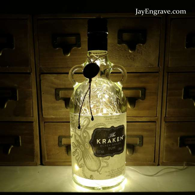 Kraken spiced rum upcycled warm white led bottle lamp - Kraken rum pictures ...