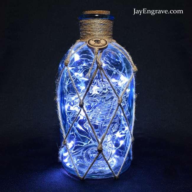 Seahorse Embossed Nautical Style Upcycled Led Bottle Lamp