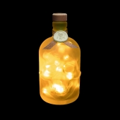 JayEngrave Glass Skull Head Yellow LED Pirate Style Frosted Bottle Lamp Light