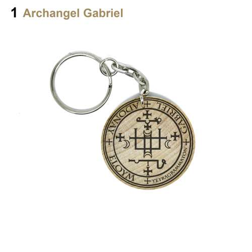 The Sigil Seal Of The Archangel Michael Gabriel Raphael Uriel Hand Made  Engraved Wood Keyring