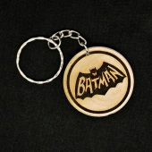 Retro Batman Hand Made Engraved Wood Keyring Keychain