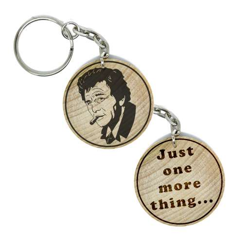 Columbo Peter Falk Hand Made Engraved Wood Keyring Keychain