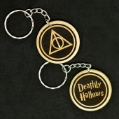 Harry Potter Deathly Hallows Hand Made Engraved Wood Keyring Keychain