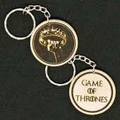 Game Of Thrones Crown Hand Made Engraved Wood Keyring Keychain