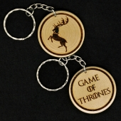Game Of Thrones House Baratheon Hand Made Engraved Wood Keyring Keychain