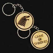 Game Of Thrones House Stark Hand Made Engraved Wood Keyring Keychain