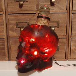JayEngrave Black Spatter Glass Skull Head Red LED bottle lamp