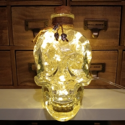 JayEngrave 700ml Pirate Skull Head Warm White LED Glass Bottle Lamp