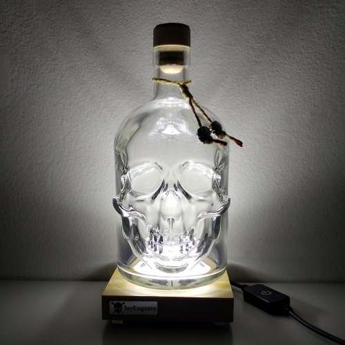 JayEngrave Illuminated LED Light Presentation Display Base Stand with 700ml Pirate Skull Decanter