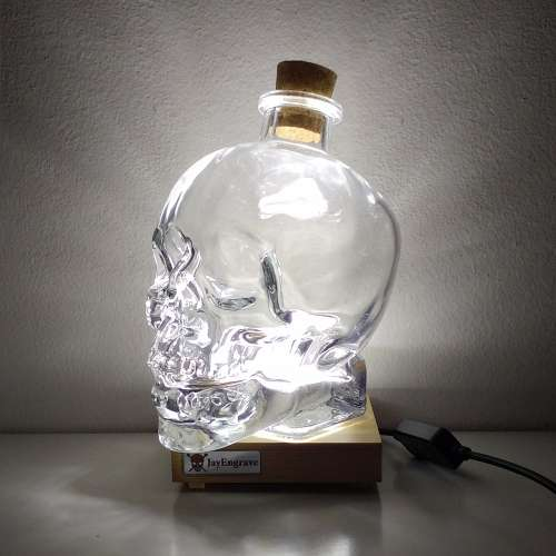 JayEngrave LED Presentation Display Base Stand with 700ml Skull Decanter Bottle