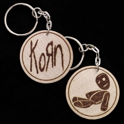 Korn Hand Made Double Sided Laser Engraved Wood Keyring Keychain
