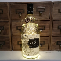 Kraken Spiced Rum Upcycled Warm White LED Bottle Lamp Light