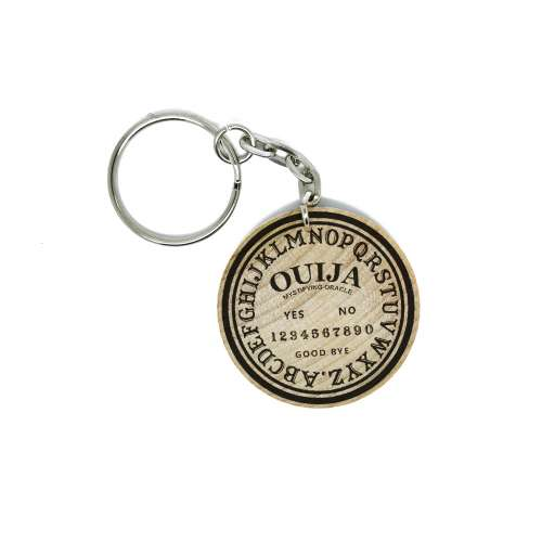 Ouija Spirit Board Hand Made Engraved Wood Keychain Keyring