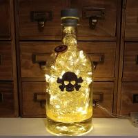 Skully Oriental Citrus Gin Upcycled Silver Mercury Effect LED Bottle Lamp Light